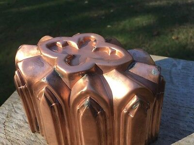 "Victorian 6.5"" Antique Gothic Copper Jelly Cake Dessert Mold Tin Lined"
