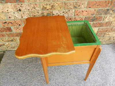Antique Vintage English 'morco' Silky Oak Sewing Box Card Table