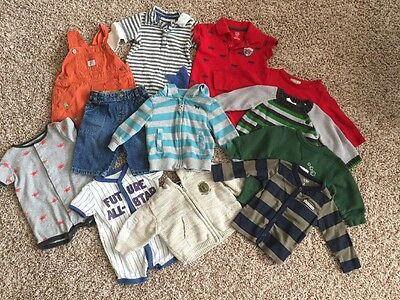 Baby Boy 6 Months Lot 12 Pieces Of Clothes Onesies Shorts Shirts Pants