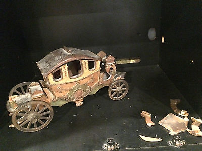Antique Model Carriage Wooden Body, Metal Wheels