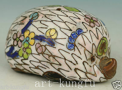lovely Chinese Old Cloisonne Handmade Carved hedgehog Statue Decor Toy Gift