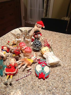 Vintage Christmas Plastic Ornaments Bradford Angels, Faceted Ball star spinner