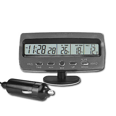 Car Voltmeter Voltage Monitor Battery Tester Alarm Temperature Thermometer Clock