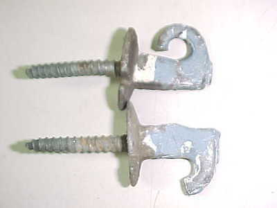 2 Vintage Old Antique Cast Metal Blue Painted Hooks