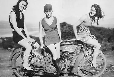 Sexy 20s Girls Excelsior Motorcycle Racing Rider 1 Rare Vintage Photo Image 1088