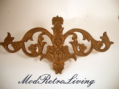 Vtg Antique Curtain Rod Medallion Swing Arm Center Cast Metal Art Deco Hardware