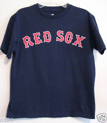 RED SOX # 8 Majestic Dark Navy Blue Youth Medium T Shirt  Boys Girl Cotton