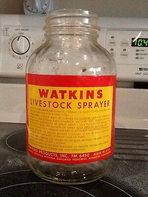 antique vintage watkins products livestock sprayer glass jar mint