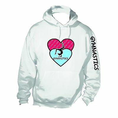 Love Gymnastics White Hoodie Sweatshirt 5-15 YRS (2H Baby Blue and Red Hearts)