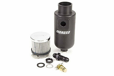 Moroso Breather Tank Dry Sump 1 qt. Round Polyethylene Black -8 AN Inlet (85404)