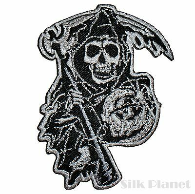 Skull Grim Reaper Outlaw Anarchy Biker Iron On Patch Motorcycle Embroidered DIY