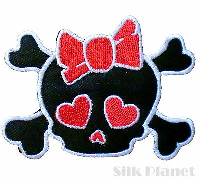Cute Skull Girly Heart Bow Rockabilly Iron on Patch Embroidered Applique DIY BK
