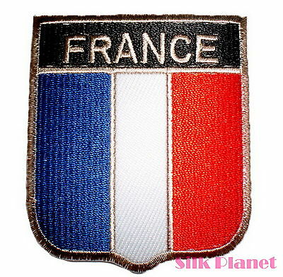 France FFF Shield Flag Embroidered Sew Iron On Patch Nation Military Applique
