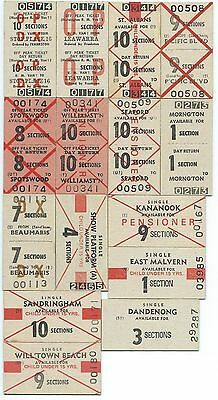 15 MELBOURNE Subn Tickets from Different Stations