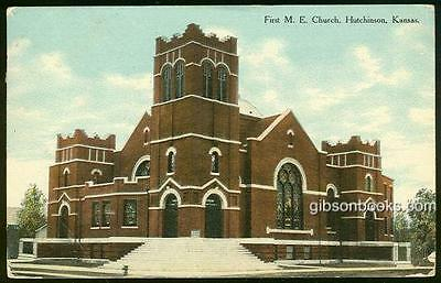 Vintage Postcard of First M.E. Church, Hutchinson, Kansas 1911
