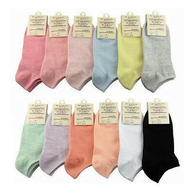 5 Pairs Candy Colour Womens Short Ankle Low Cut Sport Casual Boat Socks Crew Set