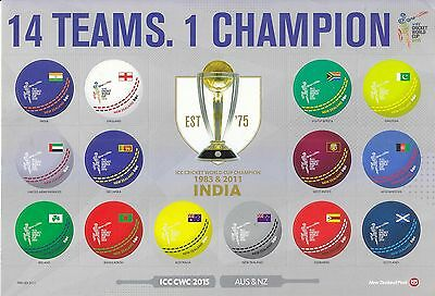 New Zealand 2015 Icc Cricket World Cup (Flags) Souvenir Sheet Of 14 Stamps Mint