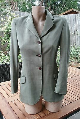 ASCOT OUTFITTERS Childs Riding Dressage Olive Green 100% Wool Jacket Size 14.