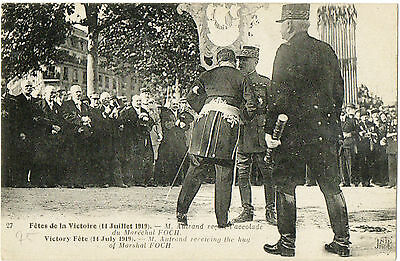 M.Autrand receives hug from Marshall Foch(Victory Fete July 1919) on green card