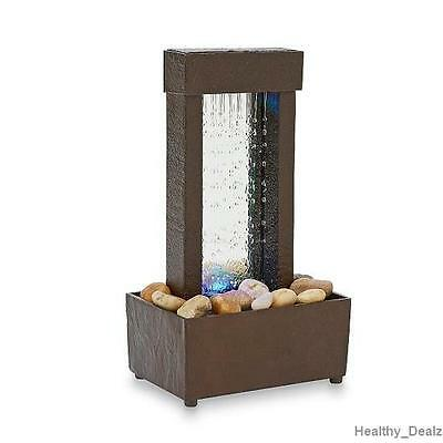 Mini Zen Wooden Home Color Changing LED Fountain Rock Formation Decoration New