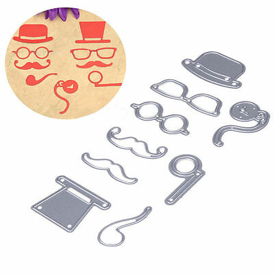 9pcs Male Hat Glasses Beard Pipe Cutting Dies Stencils For Scrapbooking Crafts