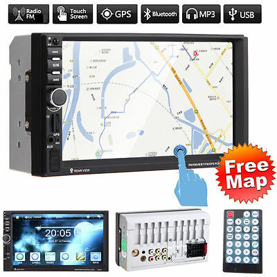"7"" Double 2 DIN Touch Screen Car GPS Stereo MP5 Player SD Bluetooth Radio+Map UK"