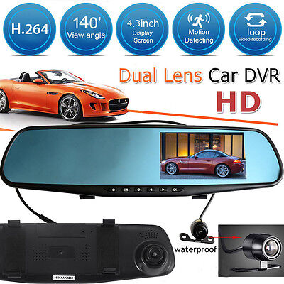 "4.3"" Car Dash Camera Dual Cam Lens Rear View Mirror DVR Recorder HD Video 1080p"