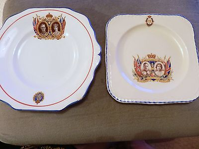 2  plates for the Coronation of George VI / Queen Elizabeth 1937 Art Deco Style