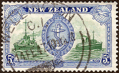 New Zealand 1946 KGVI 5d Peace with Trailing Aerial Variety Used