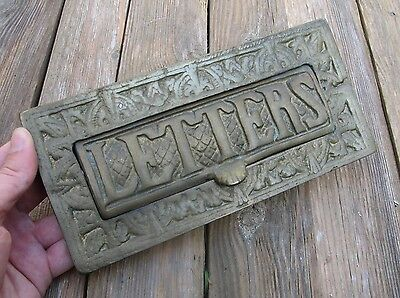 Old Large and Heavy Reclaimed Brass Letter Box Plate / Door Mail Slot / Knocker