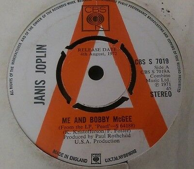 ** JANIS JOPLIN - Me And Bobby McGee - blues/psych 45 cbs promo 1971**
