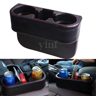 Universal Car Seat Drink PU Leather Cup Holder Valet Bottle Food Mount Stand