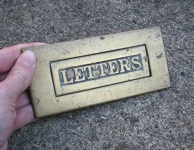 Antique brass letter box plate / mail slot