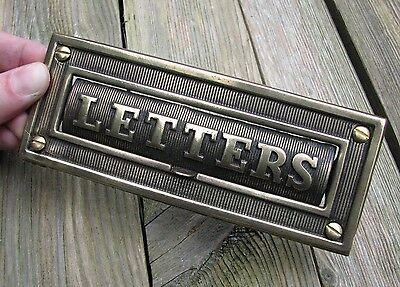 Antique Small Brass Reclaimed Cottage letter box plate / mail slot
