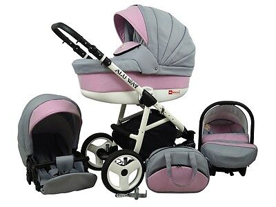 Kinderwagen BABYLUX ALU WAY ROSA, 3 in 1- Set Wanne Buggy Babyschale,Muff