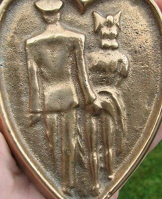 Old Brass Rude plaque / dish of gentleman and lady