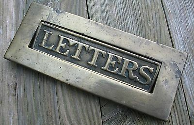 Old small reclaimed brass letter box plate / mail slot