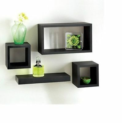 Modern set of 4 Floating Shelves wall Storage Display Unit Cubes - Black
