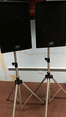 Pair of Peavey pro 15 mk 2 PA speakers with speaker stands