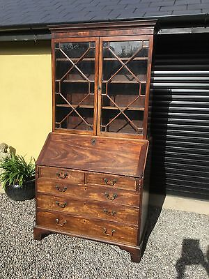 Antique Mahogany Astragal Glazed Bureau Bookcase