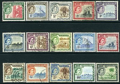 GAMBIA-1953-59 Set to £1 Sg 171-185  FINE USED V13192