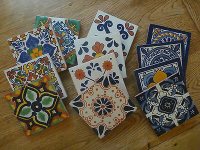 Unique, Mexican ceramic drinks table mats coasters (set of 4)