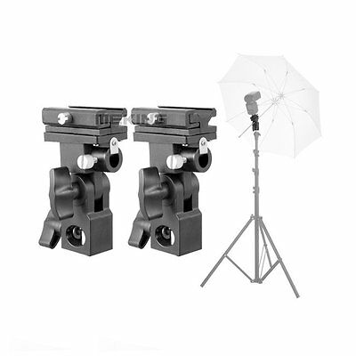 Flash Hot Shoe Umbrella Mount Holder Swivel for Light Stand Flash Bracket B 2pcs
