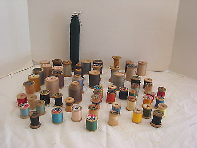 Antique Vintage Lot of 59 Wood Thread Spools Sewing
