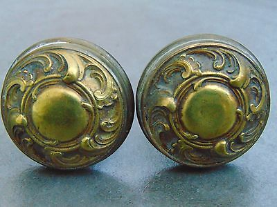 Pair Antique French Cast Bronze Gilt Door Knobs - Cupboard / Drawer