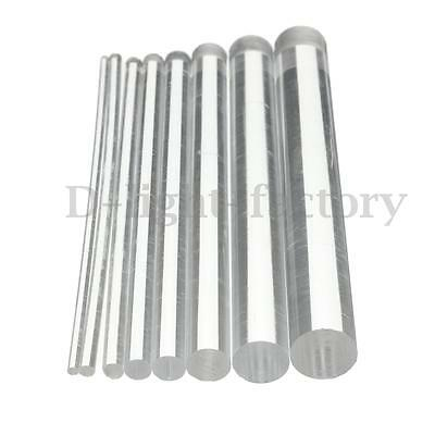 Round Clear Acrylic Rod Tube 2mm - 12mm Perspex Solid Bar 100mm - 500mm Long New