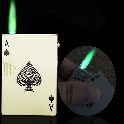 Poker Style Windproof Torch Money Note Detector Cigar Lighter Butane Gas