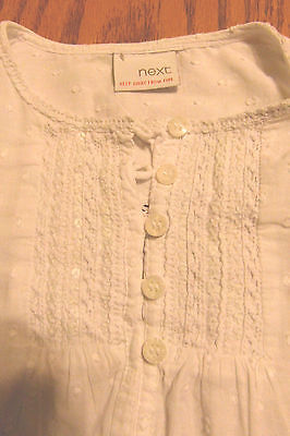 Girls White Next Short Sleeved Dress With Pretty Design Front & Back Size 3-4