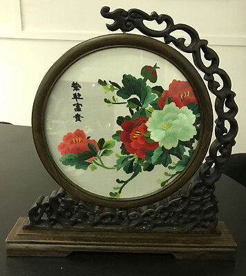 Vintage 2 sided Japanese embroidery in swivel frame stand