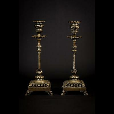 """Stunning Pair of Antique Bronze Candlesticks Vintage 11"""" Large Candle Holders"""
